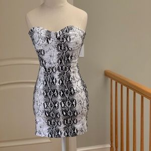 Strapless Snake Print Mini Dress NEW WITH TAGS